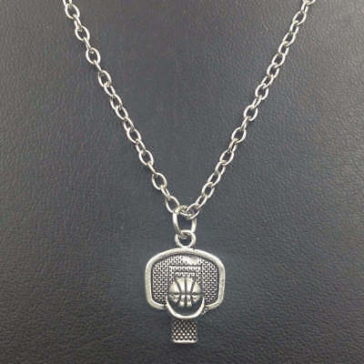 Basketball Hoop Necklace,Silver handmade necklace,Fashion charm jewelry pendants (Basketball Necklaces)
