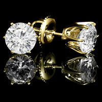 Yellow gold diamonds stud earrings 0.75CTW Boucles d'oreilles