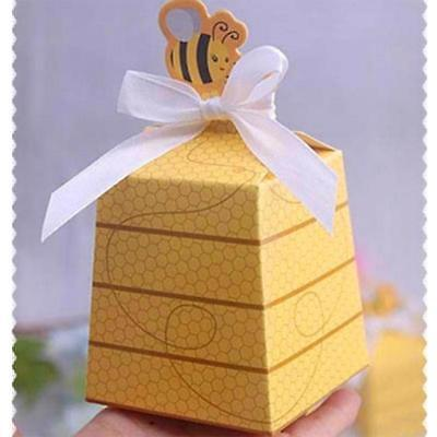 (Gift Box 50pcs Yellow Bee Style Favors With White Ribbons Wedding Birthday Party)