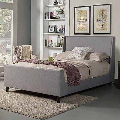Alpine Furniture 1094CK Amber California King Upholstered Bed, Grey Linen,  New California King Upholstered Bed