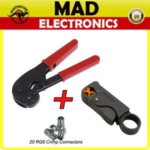 RG6 Crimper Crimping Tool + Coaxial Cable Stripper + 20 x RG6 Crimp Connector