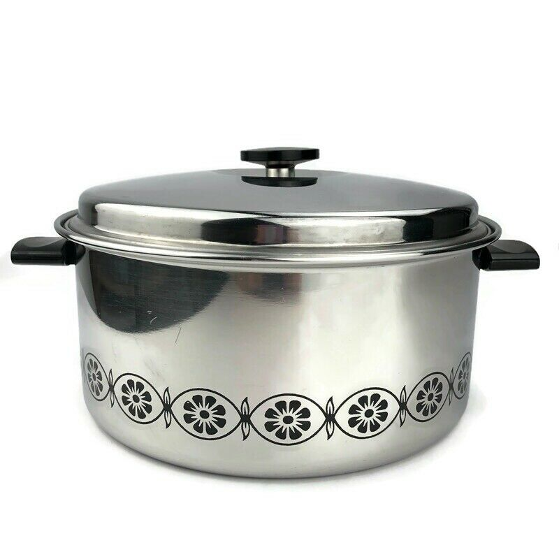 EKCO FLINT 3-Ply Stainless Steel 6 Qt Stock Pot with Lid Daisy Flowers