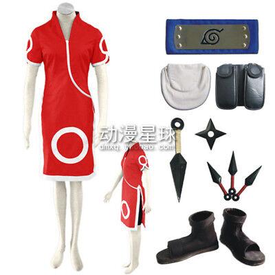 Anime Haruno Sakura Cosplay  Women Kids Costume Halloween Full Set Outfits New