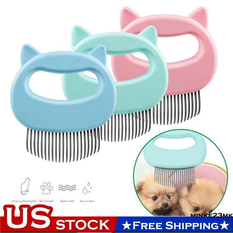 US Pet Cat Dog Massage Shell Comb Grooming Hair Removal Shedding Cleaning Brush