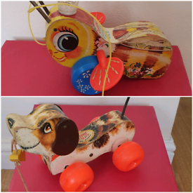 Vintage Fisher Price pull along dog & buzzy queen bee £10 for both
