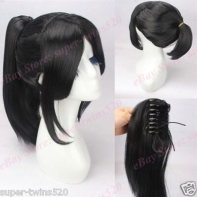 Black Hair Cosplay Wig with High Ponytail Anime Movie Wig by yukimura chiduru - Movie Wigs