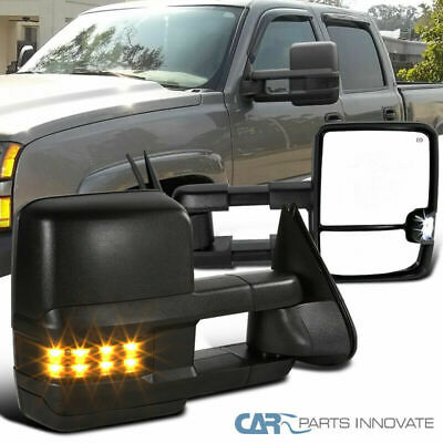 03-06 Silverado Sierra Power Heated Towing Mirrors+Smoke Lens LED Turn Signal - Mirrors Smoke Led Lens