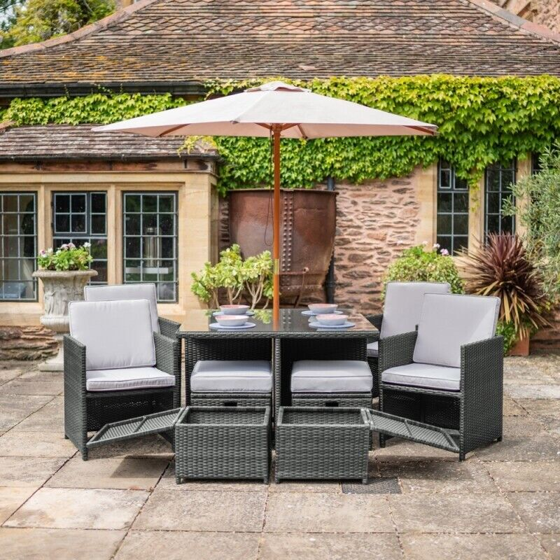 RATTAN CUBE GARDEN FURNITURE GREY OR BROWN TABLE CHAIRS ...