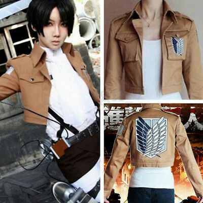 Herren Frauen Attack on Titan Anime Cosplay Kostüm Recon Corps Jacke Jacket Coat