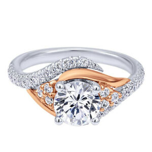Lady's 18K White and Rose Gold Custom made Engagement Ring