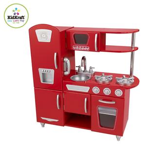 Kidkraft Red Retro Kitchen Refrigerator Pretend Play Set Kids Vintage Cooking
