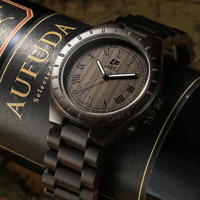 (Eco-friendly Mens Wood Watches Natural Black Sandal Wood Watch Relogio Masculine)