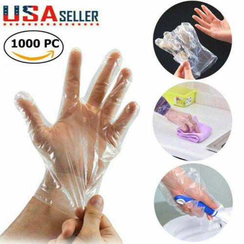 1000 Single-Use Plastic Gloves Latex Free Powder Free Thin & Light