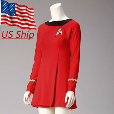 Classic Star Trek Costume (Classic Star Trek Female Duty TOS Red Uniform Dress Cosplay Costume Adult)