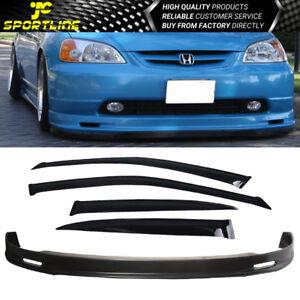 Fits 01-03 Honda Civic 4Dr Mugen Style Front Bumper Lip + Rain Sun Window Visors