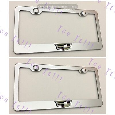 2X 3D For Cadillac ATS CTS SRX Emblem Stainless Steel License Plate Frame W Caps