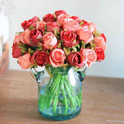 13 Color 12Head Silk Rose Flowers Floral Bridal Wedding Bouquet Home Party Decor