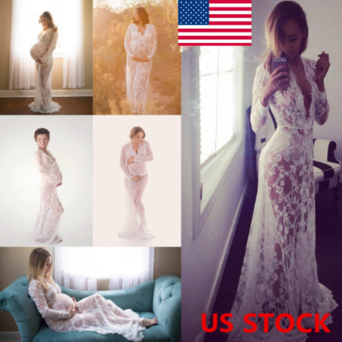 Pregnant Women Lace Maternity Long Gown Maxi Deep V Neck Dre