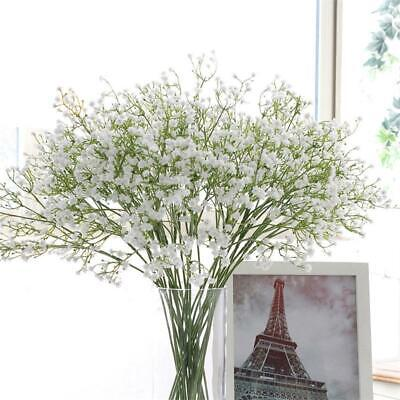White Fake Flowers (Artificial Gypsophila Fake Silk Flowers Baby Breath Bouquet Home Decor White)