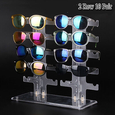 10-Pair Acrylic Sunglasses Glasses Retail Shop Display Unit Stand Holder Case