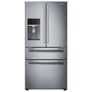 "Samsung RF28HMEDBSR 36"" French Door Refrigerator Thru Door Ice D"