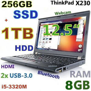"Thinkpad X230 12.5"" i5-2.6GHz (256GB SSD + 1TB 8GB) Bluetoo Cam"