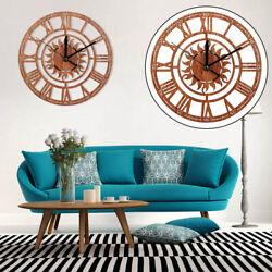 Round Sun Shape Vintage Roman Handmade Decorative Art Wood Wall Clock Accessory