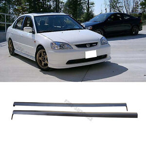 For 01-03 Honda Civic 2/4dr RS Style Black PP 2pcs Side Skirts Spoiler Bodykit