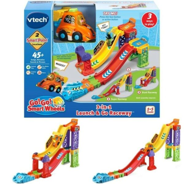BNIB: VTech Go! Go! Smart Wheels 3-in-1 Launch and Go Raceway - Toot Toot Drivers