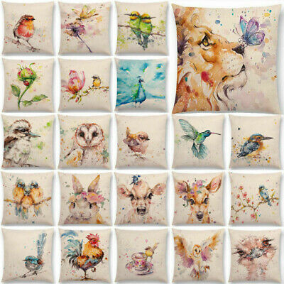 Watercolor Lion Flowers Butterfly Lane Bird Wren Cushion Cover Pillow Case ()