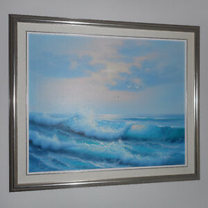 BEAUTIFUL FRAMED OIL PAINTING OF THE OCEAN