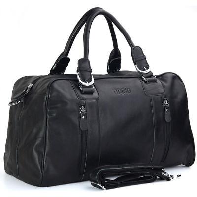 Men Genuine Leather Travel Overnight Luggage Duffle Gym Shoulder Bag Suitcase
