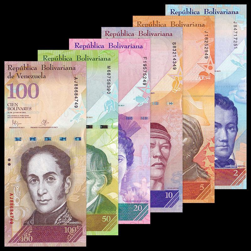 Venezuela Full Set 6 PCS, 2+5+10+20+50+100 Bolivares, P-88-93, UNC