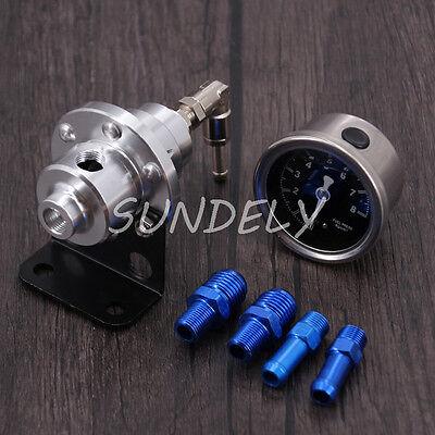 High Performance Car Pressure Gauge Adjustable Fuel Pressure Regulator Silver