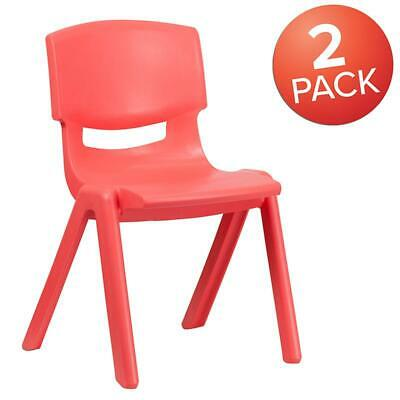 2 Pack Red Plastic Stackable School Chair With 15.5 Seat Height