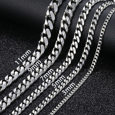 """18""""-36"""" Stainless Steel Silver Tone Chain Cuban Curb Mens Necklace 3/5/7/9/11mm"""