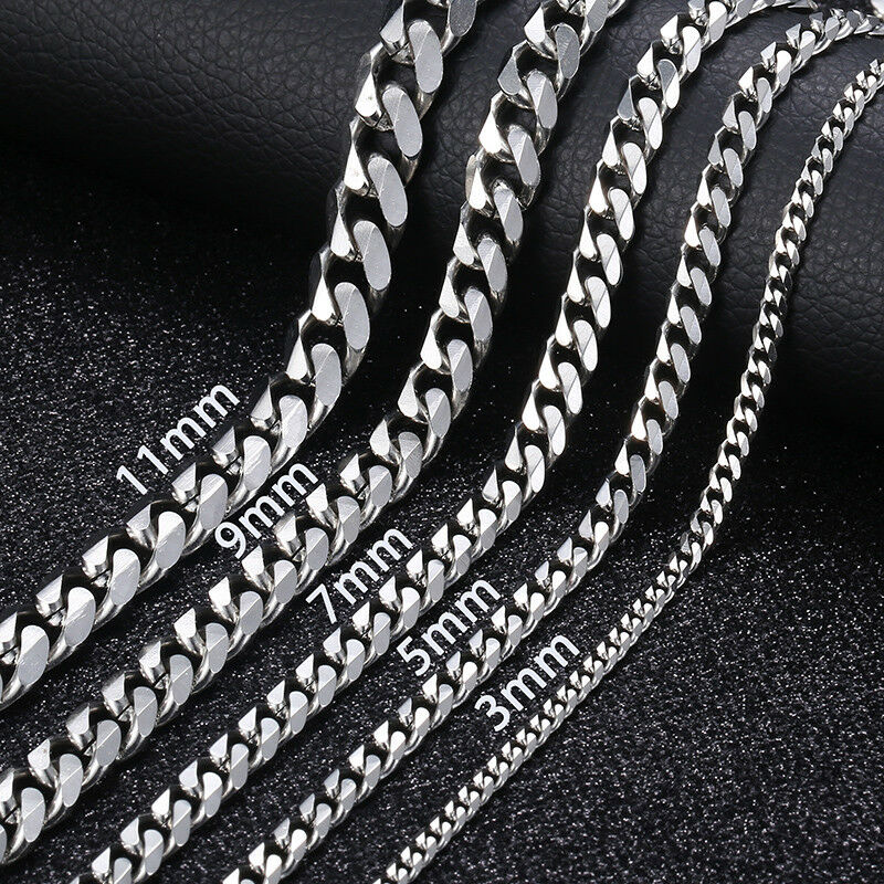 "Jewellery - 16""-36"" Stainless Steel Silver Chain Cuban Curb Women Mens Necklace 3/5/7/9/11mm"