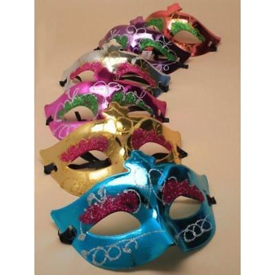 Masquerade Mask Filligree Party Glitter Ball Accessories 6 Colours Metallic - Masquerade Ball Accessories