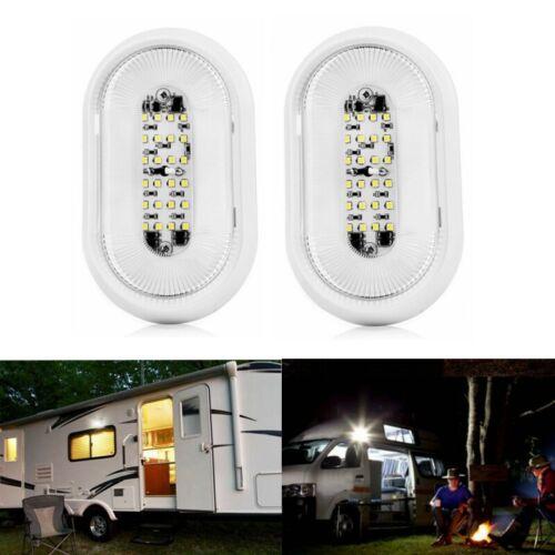 Pair 12V RV Utility LED Porch Light 720LM White On/Off Switch for Camper Trailer