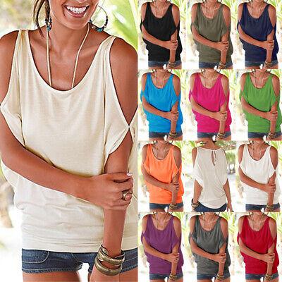 Plus Size Womens Summer Cold Shoulder Tee Top Blouse Ladies