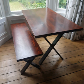 Custom dining table and matching bench