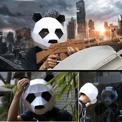 DIY Paperwork Panda Head Mask Cosplay Masquerade Halloween Party Costume Animals