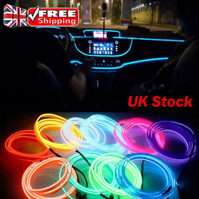 UK 12V 235M Car Interior Atmosphere Glow EL Wire Neon LED Strip Light Rope Lot