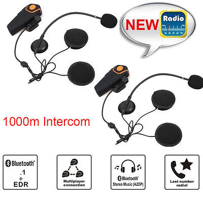 2x1000m BT-S2 Bluetooth Motorcycle Helmet Headset Intercom Waterproof FM Radio