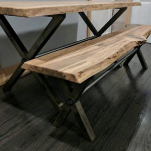 Live Edge Silver Maple Table and Bench