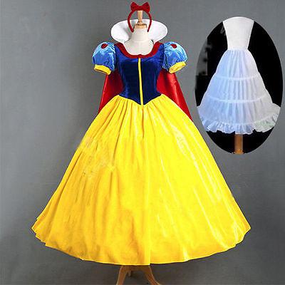 UK Adult Costume + Petticoat Disney Princess Snow White Dresses Princess Cosplay
