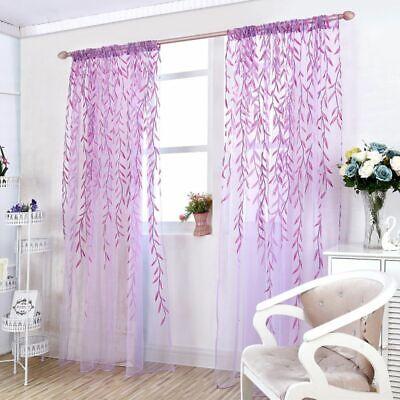 Leaves Print Design Sheer Curtain Pattern Voile Panel Drape