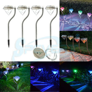 Diamante-LED-Energia-Solar-ACERO-INOX-Estaca-Luces-Jardin-Patio-Poste-Lampara