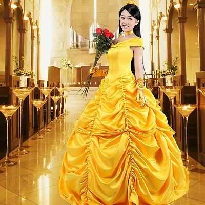 Adult Princess Belle cosplay Costume Made Beauty and The Beast Fancy Ball Dress - Adult Belle Costume