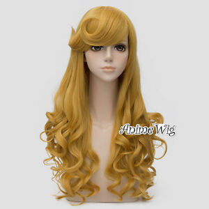 For Sleeping Beauty Aurora Golden Blonde Long 65CM Curly Cosplay Wig + Wig Cap